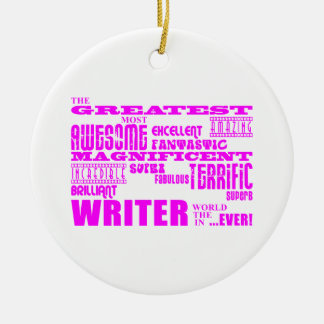 Best Girls Authors Writers : Pink Greatest Writer Christmas Tree Ornaments