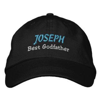BEST GODFATHER Custom Name BLACK with BLUE B03 Baseball Cap