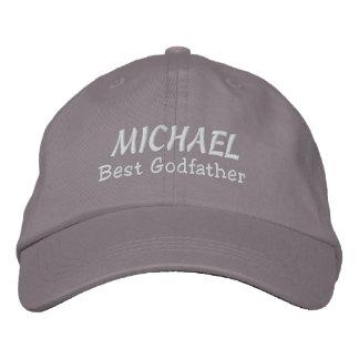 BEST GODFATHER Custom Name GRAY and WHITE B02 Baseball Cap