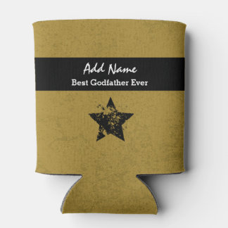 Best Godfather Ever Gold and Black Ribbon A04 Can Cooler