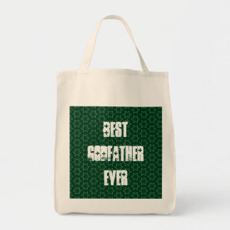 Best GODFATHER Ever Green Star Pattern Gift Idea Tote Bag