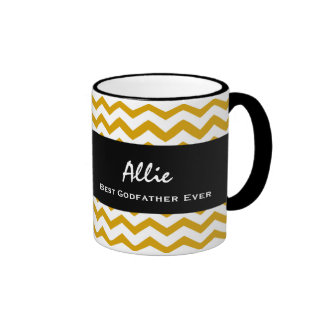 Best GODFATHER Ever ZIG ZAG Print Gift Idea Ringer Mug