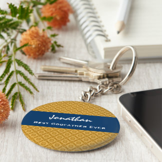 Best GODFATHER Gold and Navy Custom Gift Idea Keychain