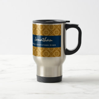 Best GODFATHER Gold and Navy Custom Gift Idea 15 Oz Stainless Steel Travel Mug