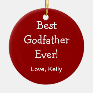 Best Godfather Double-Sided Ceramic Round Christmas Ornament