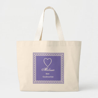 Best Godmother Purple and White Lace Gift Large Tote Bag