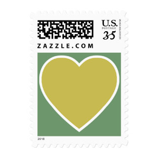 Best Gold Heart With White Trim On Sage Background Postage