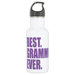 Water Bottle (24 oz) with Best. Gramma. Ever. (purple) design