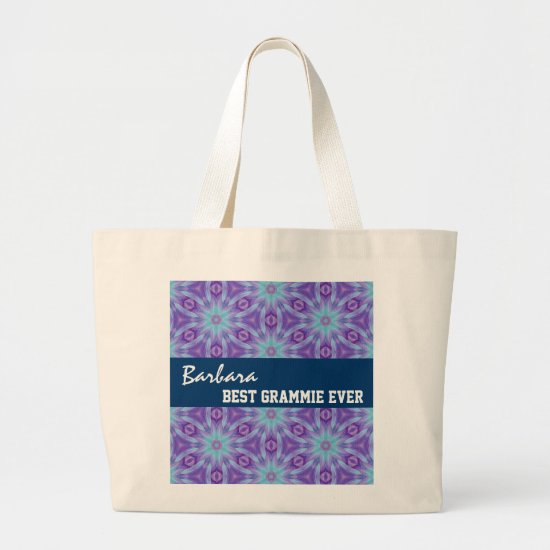Best Grammie Ever Purple Turquoise Floral Pattern Large Tote Bag