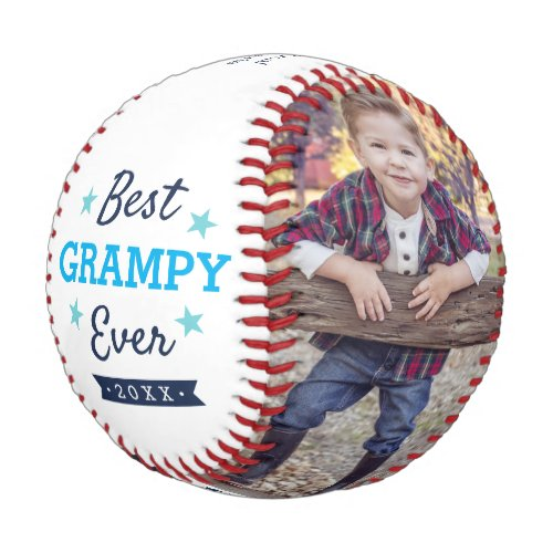 Best Grampy Ever  Grandpa Fathers Day Photo Baseball