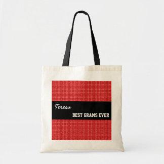 Best Grams Ever Custom Name Red Squares 002 Tote Bag