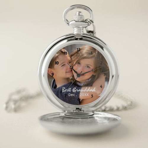 Best Granddad Personalized Photo Face Pocket Watch