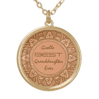 Best GRANDDAUGHTER Ever Gold Lace V13 Gold Plated Necklace