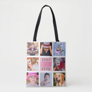 Best Grandma Ever 8 Photograph Custom Tote Bag