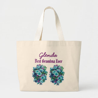 Best Grandma Ever Custom Name Blue Flowers Ver1 Large Tote Bag