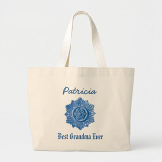 Best Grandma Ever Custom Name Vintage Blue Large Tote Bag