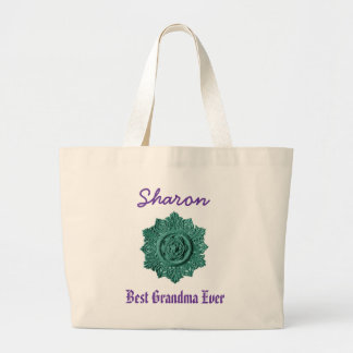 Best Grandma Ever Custom Name Vintage Green Large Tote Bag