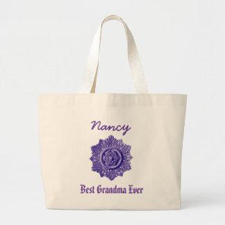 Best Grandma Ever Custom Name Vintage Purple Large Tote Bag