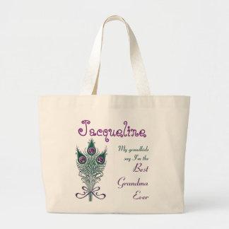 Best Grandma Ever Peacock Feather Teal Purple Large Tote Bag