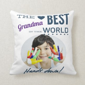 Best Grandma Ever Photo Throw Pillow