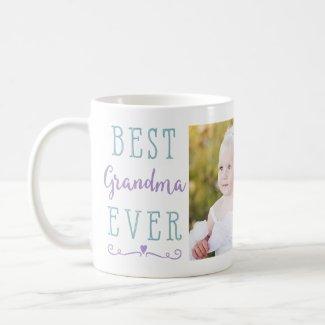 Best Grandma Ever Purple Teal Custom Photo Coffee Mug