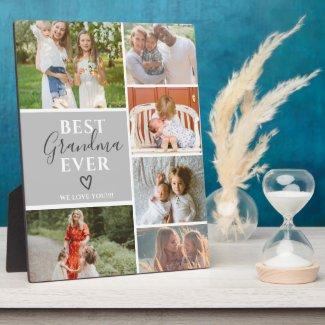 Best grandma ever script gray 6 photo collage grid plaque