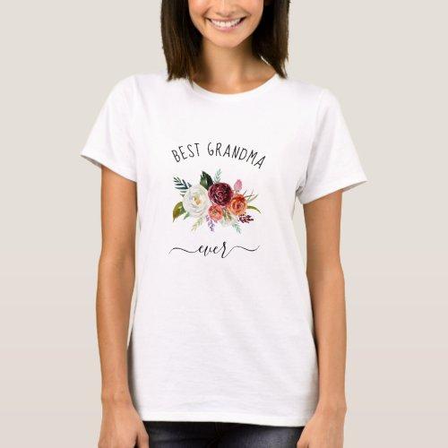Best Grandma Ever  Trendy Burgundy Boho Floral T_Shirt