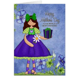 Best Grandma in the World Purple Girl Card