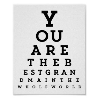Best Grandma Typography   Snellen Chart Poster