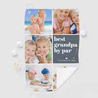 Best Grandpa by Par | Photo Collage Father's Day Golf Towel