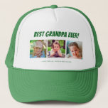 """Best Grandpa Ever 3 Photos Trucker Hat<br><div class=""""desc"""">This hat features three photo frames for pictures of grandchildren or grandpa. Green text """"Best Grandpa Ever"""" appears above the pictures and custom text below allows you to personalize with names. This is a perfect keepsake birthday or Christmas gift for any grandpa.</div>"""