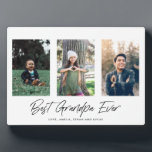 """Best Grandpa Ever Father's Day Plaque<br><div class=""""desc"""">Show appreciation for dad with this minimalist """"Best Grandpa Ever"""" plaque. It features three spots for your own personal photos and room for a special message.</div>"""