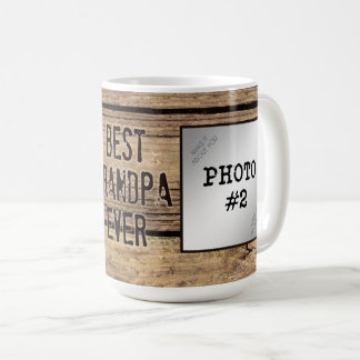Best Grandpa Ever in Rustic Wood-Framed Photos Coffee Mug