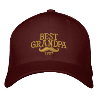 Best Grandpa Ever Mustache Embroidery Embroidered Baseball Cap