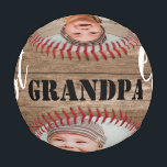 """Best Grandpa Ever Rustic Wood 3 Photo Collage Baseball<br><div class=""""desc"""">Make your grandfather feel special with this """"best grandpa ever"""" baseball as father's day gift.</div>"""