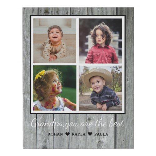 Best Grandpa Grandchildren 4 Photo Collage Gray Faux Canvas Print