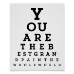 Best Grandpa Typography   Snellen Chart Poster