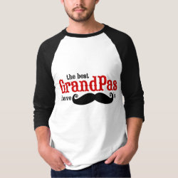 Men's Basic 3/4 Sleeve Raglan T-Shirt with Best Grandpas Have Mustaches design