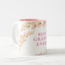 BEST GRANNY EVER pretty watercolor floral pink Two-Tone Coffee Mug