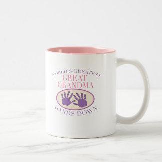 Best Great Grandma Hands Down T-shirt Two-Tone Coffee Mug