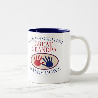 Best Great Grandpa Hands Down Two-Tone Coffee Mug