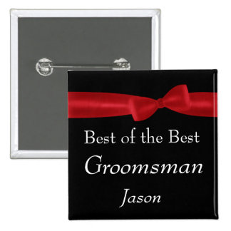 Best GROOMSMAN Red Bow Wedding Custom Name Pinback Buttons