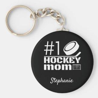 Best Hockey Mom Keychain number one black white
