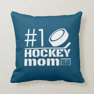 Best Hockey Mom pillow number one blue