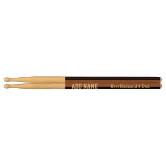 Best Husband and Dad Modern Tan Black Ribbon A03 Drum Sticks