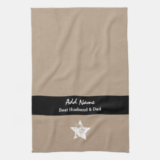 Best Husband and Dad Modern Tan Black Ribbon A03 Towel