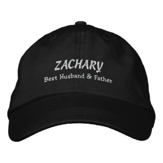 BEST HUSBAND and FATHER Black Hat WHITE Thread C03 Baseball Cap
