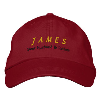 BEST HUSBAND and FATHER Red Hat Gold Name C05
