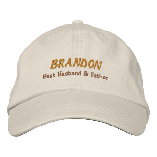 BEST HUSBAND and FATHER Stone Hat Gold Name C06