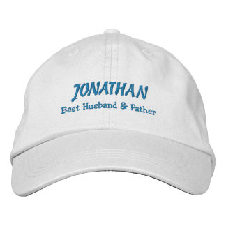 BEST HUSBAND and FATHER White Hat BLUE Thread C02 Embroidered Hats